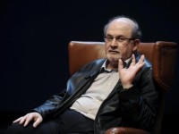 Author Salman Rushdie gestures during a news conference before the presentation of his latest book 'Two Years Eight Months and Twenty-Eight Nights' at the Niemeyer Center in Aviles, northern Spain, October 7, 2015. REUTERS/Eloy Alonso