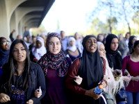 Students chant while marching at a rally against Islamophobia at San Diego State University in San Diego, California, November 23, 2015.  REUTERS/Sandy Huffaker - RTX1VIPU